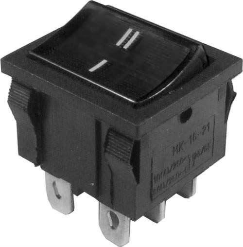 Přepínač kolébkový ON-ON 2pol.250V/6A