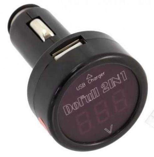Voltmetr do auta s nabíječkou USB (5V/2,1A), rozsah měření 8-30V