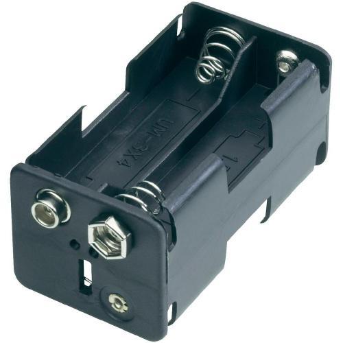 Držák na baterie 4x AA s klip konektorem, 61,5 x 30 x 31,5 mm