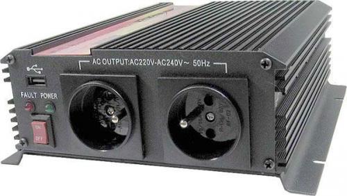 Měnič napětí 24V/230V+USB 1000W, CARSPA CAR-1KU modifikovaná sinusovka