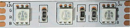 LED pásek 12V 10mm RGB,60xLED5050/m,IP20, modul 5cm