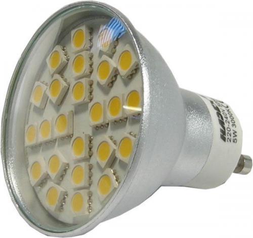 Žárovka LED GU10-24xSMD5050,teplá bílá,230V/5W