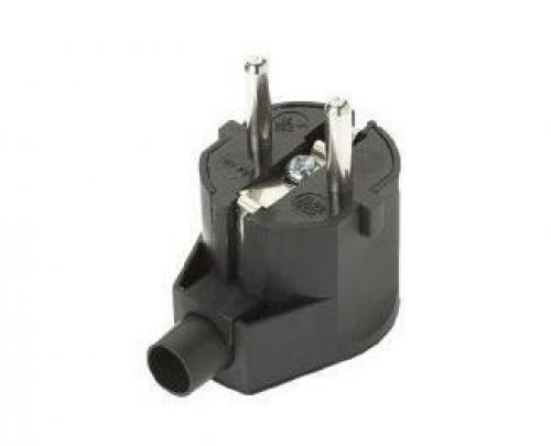 Vidlice 230V/16A černá, boční vývod-volitelný směr