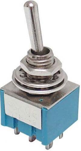Přepínač pačkový ON-ON 2pol.250V/3A-mini-otvor 6mm