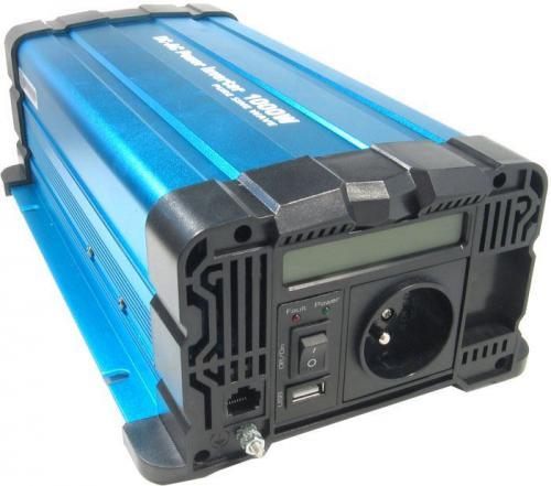 Měnič napětí 12V/230V+USB 1000W, Solarvertech FS1000, čistá sinusovka