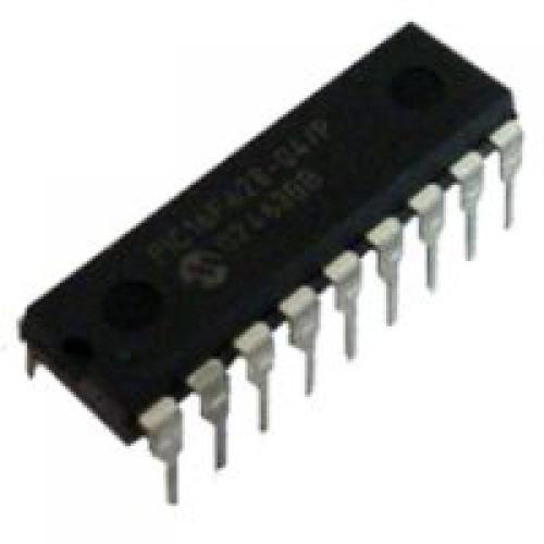 PIC16F628A s programem pro konstrukci kódového zámku (flip-flop)
