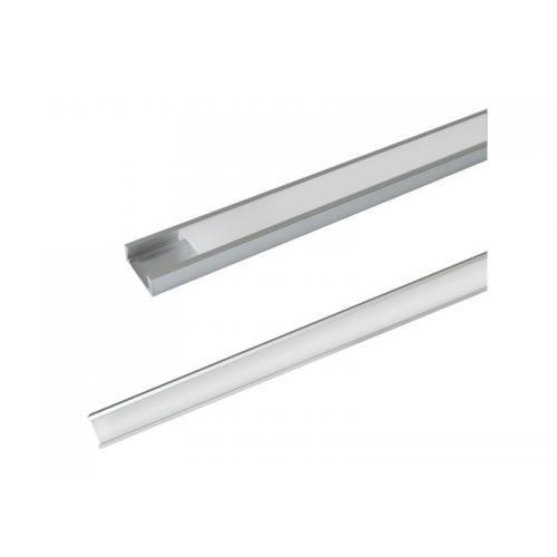 Hliníkový profil AS5 pro LED pásky, k přisazení, s plexi, 1m