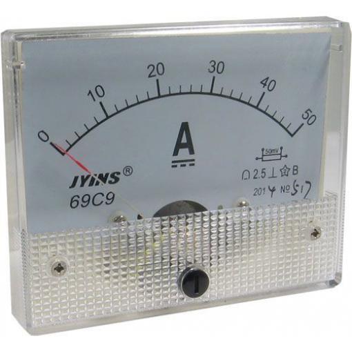 Analogový panelový ampérmetr 69C9 50A DC (50mV), bez bočníku