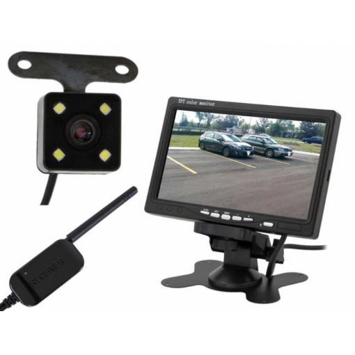 """Bezdrátová couvací kamera se 7"""" LCD monitorem a nočním viděním 12V - 24V"""
