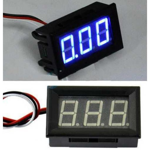 Voltmetr panelový LED modrý,  3-30V, LC18
