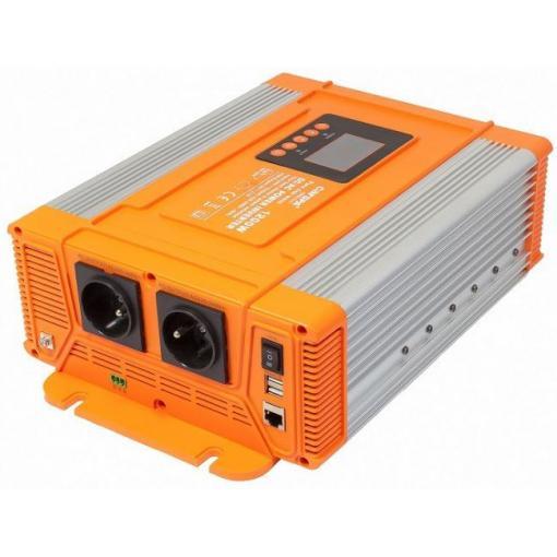 Měnič napětí 12V/230V 1200W, CARSPA PX1200,čistá sinus.D.O.drátové