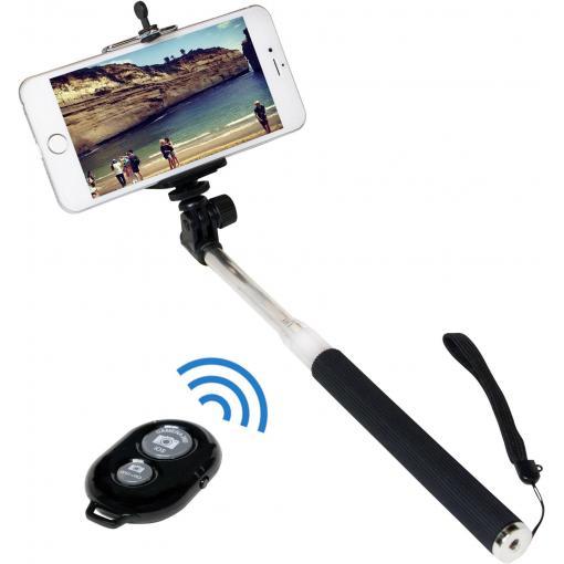 Selfie tyč LogiLink BT0034, 106 cm, vč. řemínku na ruku, černá, stříbrná