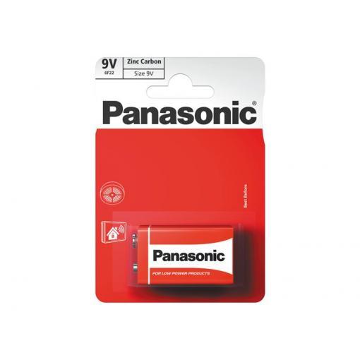 Baterie 6F22 (9V) Red  zinkouhlíková, PANASONIC