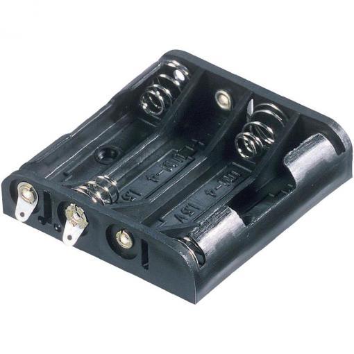 Držák na baterie 4x AAA s pájecími kontakty Goobay, černá