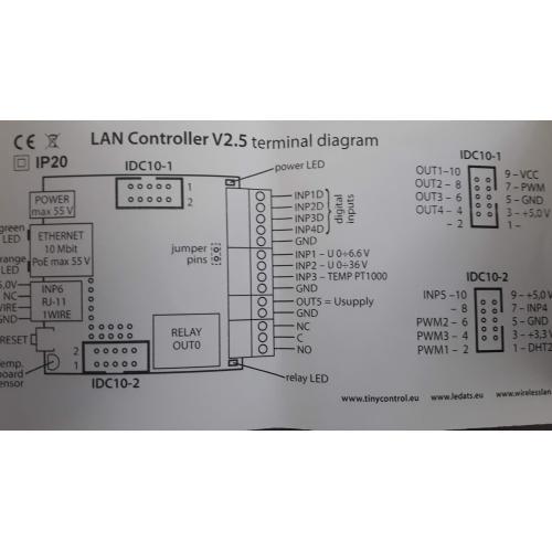 LAN ovladač, s relé, verze v2.5