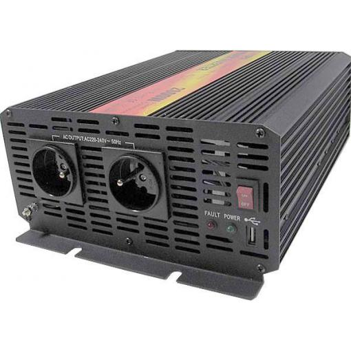 Měnič napětí 12V/230V+USB 2000W, CARSPA CAR2K, modifikovaná sinusovka