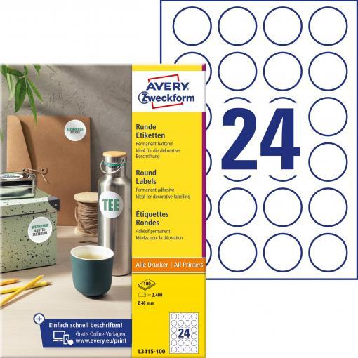 Avery-Zweckform L3415-100 etikety Ø 40 mm papír bílá 2400 ks permanentní univerzální etikety, popisovače etiket inkoust, laser, kopie 100 Sheet A4