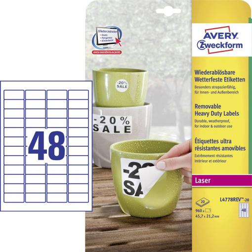 Avery-Zweckform L4778REV-20 etikety 45.7 x 21.2 mm poylesterová fólie bílá 960 ks přemístitelné Adresní nálepky, etikety odolné proti vlivům počasí