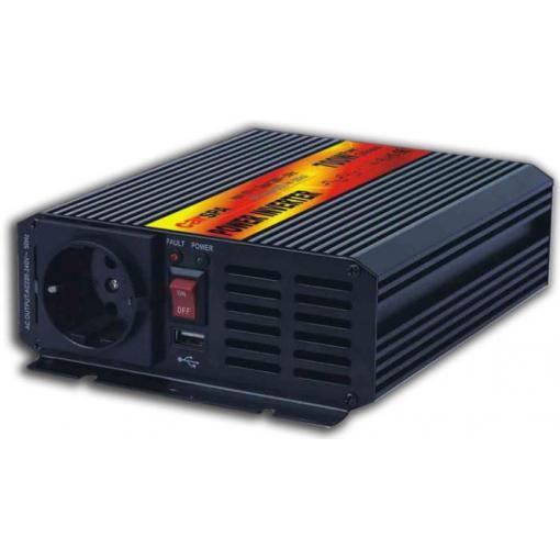 Měnič napětí 24V/230V+USB 700W, CARSPA CAR700, modifikovaná sinusovka