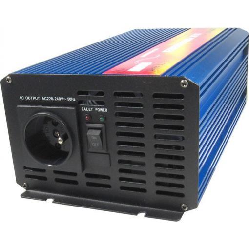 Měnič napětí 12V/230V 1000W, CARSPA P1000, čistá sinusovka