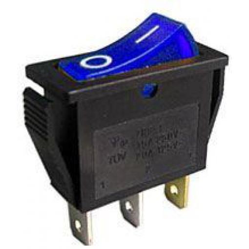 Vypínač kolébkový OFF-ON 1pol.250V/15A modrý, prosvětlení 230V