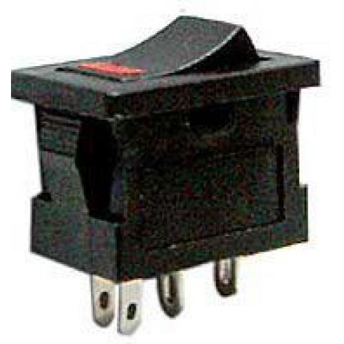 Vypínač kolébkový MRS-101-3, OFF-ON 1pol.250V/3A, prosvětlení LED