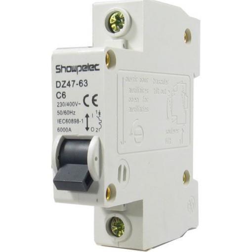 Jistič Showpelec DZ47-63 C6, 230V/6A/C 1fázový na DIN lištu