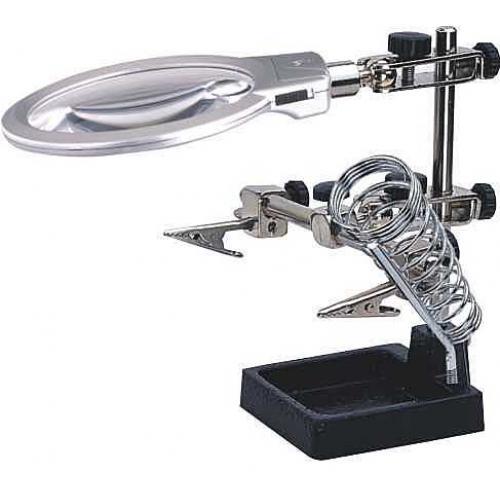 Držáček s lupou-třetí ruka s LED osvětlením