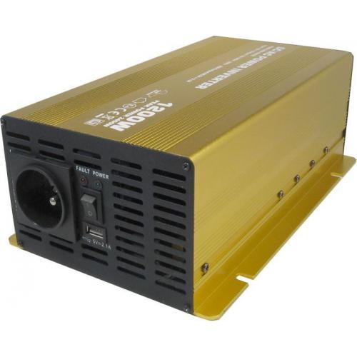 Měnič napětí 12V/230V 1200W, Soluowill NP1200, čistá sinusovka