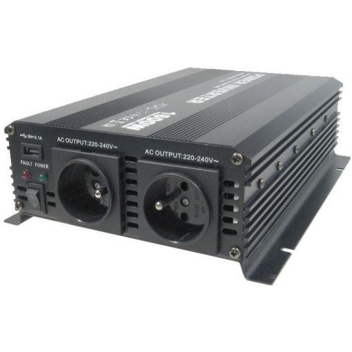 Měnič napětí 12V/230V+USB 1600W, Soluowill NM1,6K-12 modifikovaná sin.