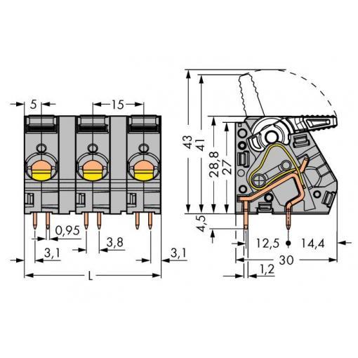 Pružinová svorkovnice WAGO 2716-203, 6.00 mm², Pólů 3, šedá, 30 ks