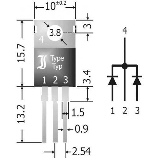 Usměrňovací diodové pole Diotec SBCT2040, U(RRM) 40 V, 20 A