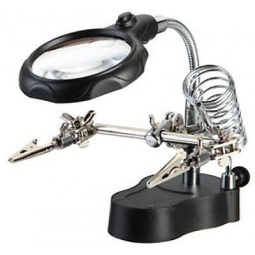 Držáček s lupou-třetí ruka s LED osvětlením ZD-126