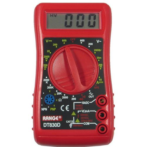 Multimetr DT830D RANGE červený
