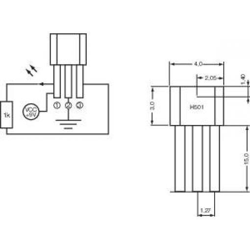 Hallův spínač PIC H501, 20 mA, 3,8 - 24 V/DC, TO 92 UA
